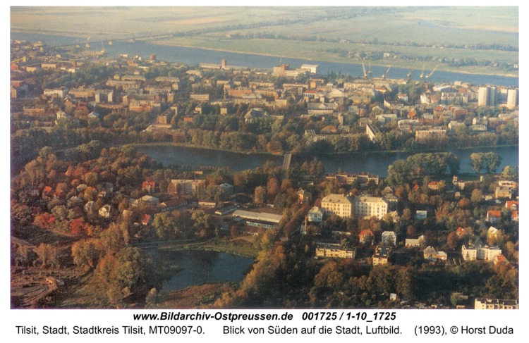 Tilsit, Blick von Süden auf die Stadt, Luftbild