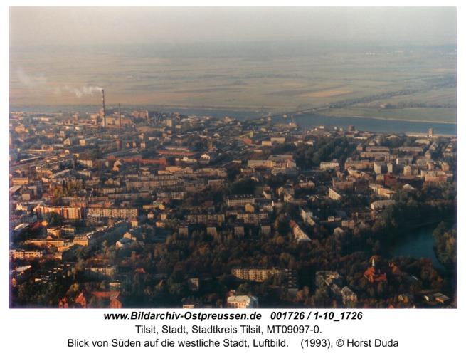 Tilsit, Blick von Süden auf die westliche Stadt, Luftbild