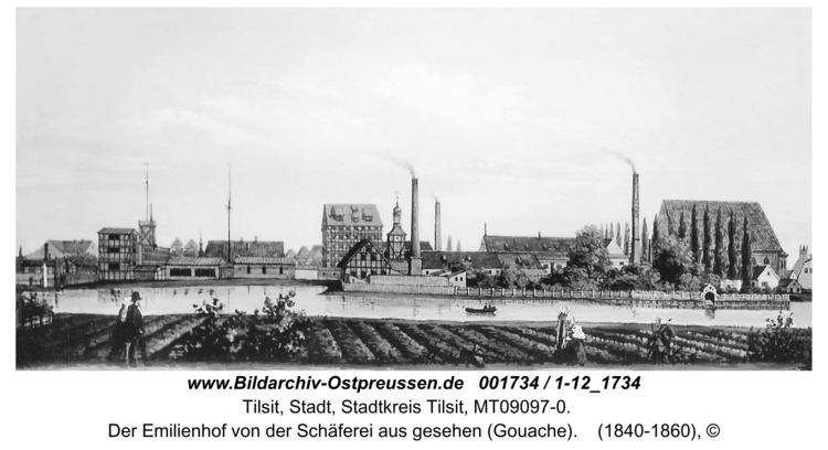 Tilsit, Der Emilienhof von der Schäferei aus gesehen (Gouache)