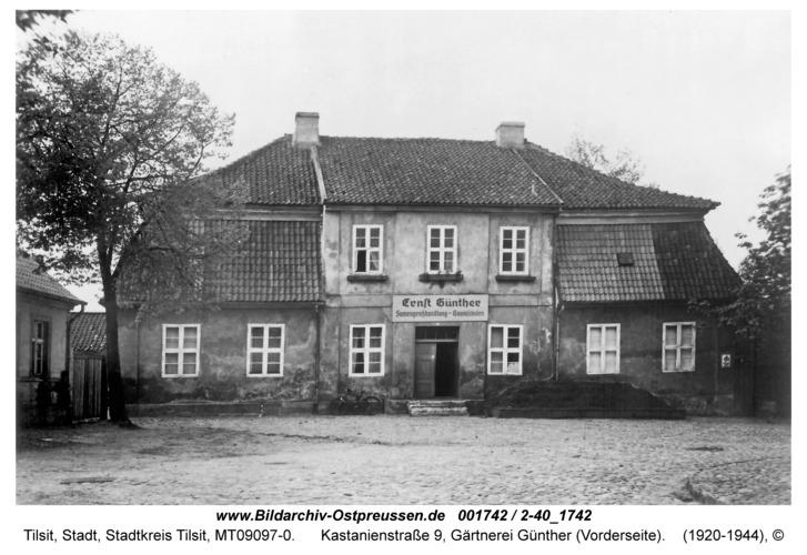 Tilsit, Kastanienstraße 9, Gärtnerei Günther (Vorderseite)