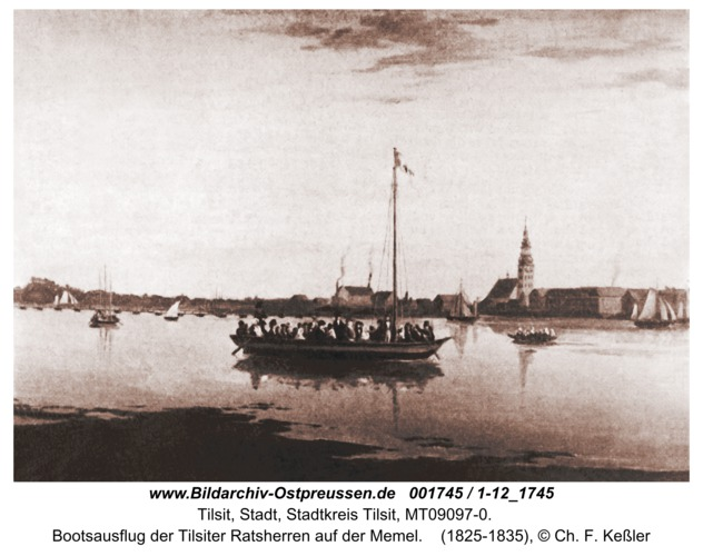Tilsit, Bootsausflug der Tilsiter Ratsherren auf der Memel