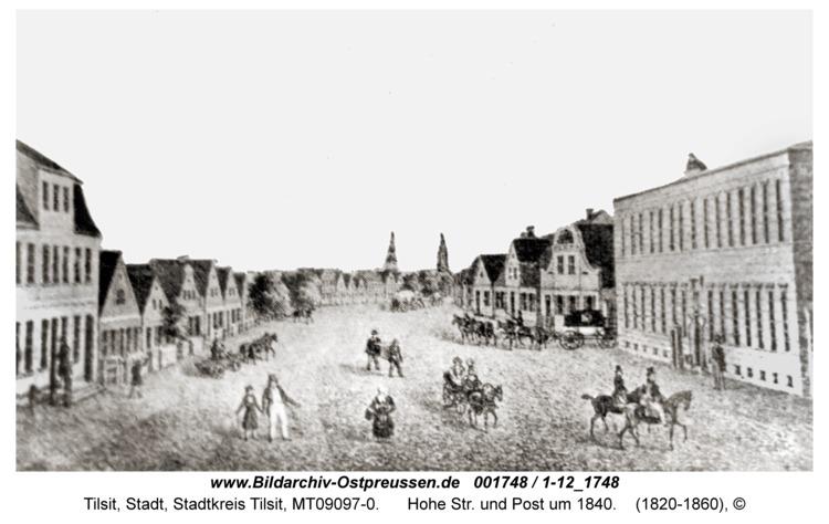Tilsit, Hohe Str. und Post um 1840