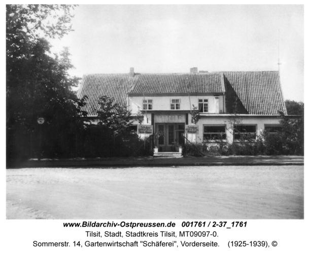 """Tilsit, Sommerstr. 14, Gartenwirtschaft """"Schäferei"""", Vorderseite"""