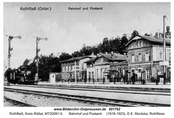 Rothfließ, Bahnhof und Postamt