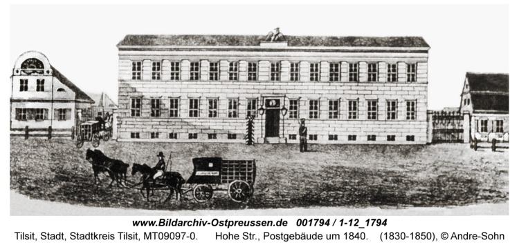 Tilsit, Hohe Str., Postgebäude um 1840