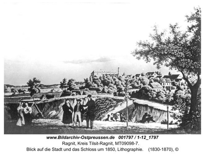 Ragnit, Blick auf die Stadt und das Schloss um 1850, Lithographie