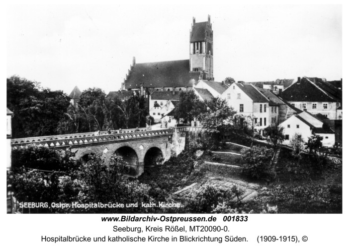 Seeburg, Hospitalbrücke und katholische Kirche in Blickrichtung Süden
