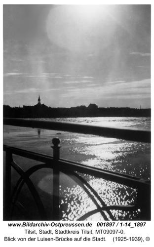 Tilsit, Blick von der Luisen-Brücke auf die Stadt