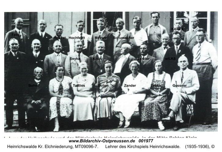 Heinrichswalde, Lehrer des Kirchspiels Heinrichswalde