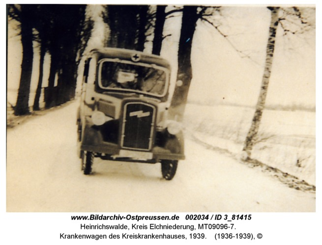 Heinrichswalde, Krankenwagen des Kreiskrankenhauses, 1939