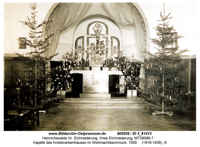 Heinrichswalde, Kapelle des Kreiskrankenhauses im Weihnachtsschmuck, 1939