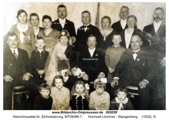 Heinrichswalde, Hochzeit Lörchner - Stangenberg