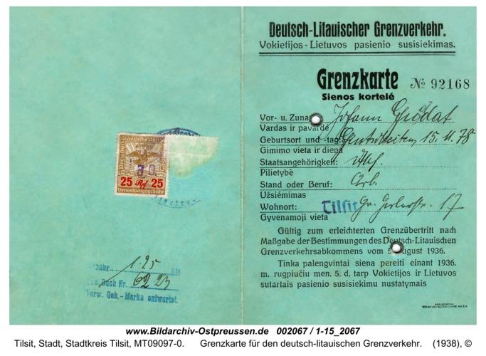Tilsit, Grenzkarte für den deutsch-litauischen Grenzverkehr
