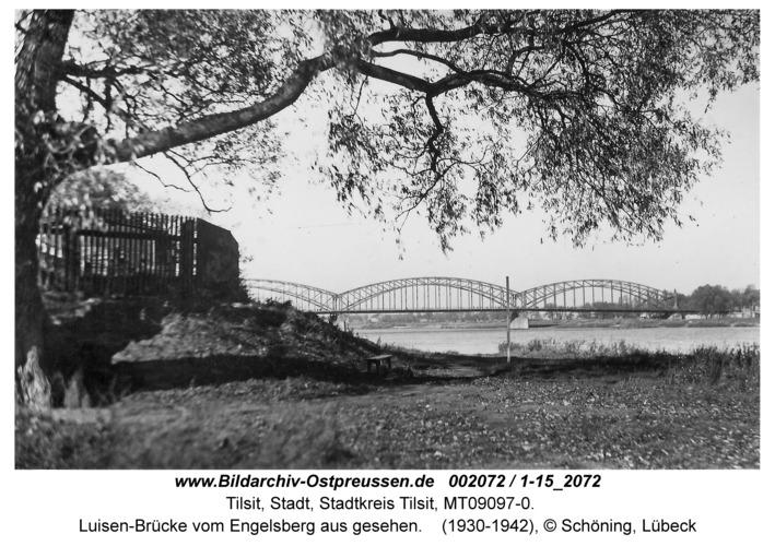 Tilsit, Luisen-Brücke vom Engelsberg aus gesehen