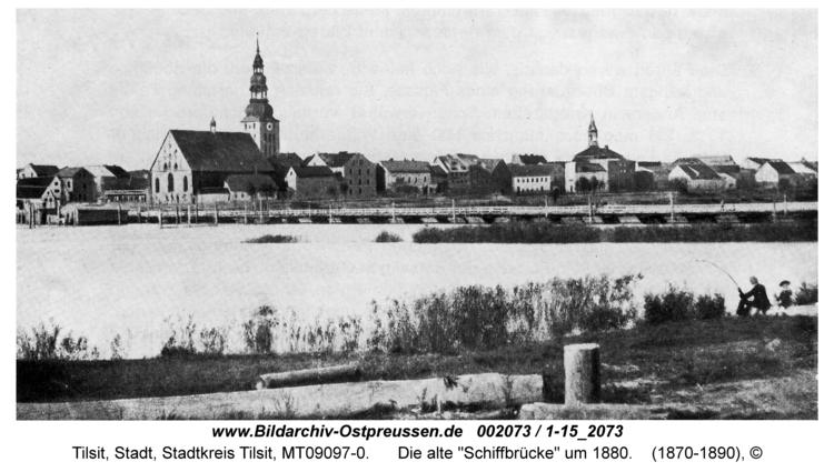 """Tilsit, Die alte """"Schiffbrücke"""" um 1880"""