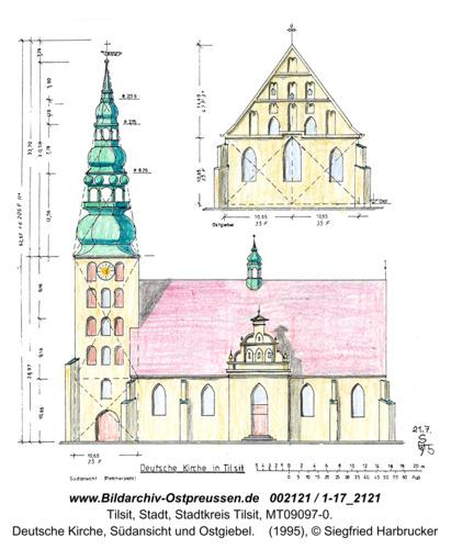 Tilsit, Deutsche Kirche, Südansicht und Ostgiebel (Zeichnung)