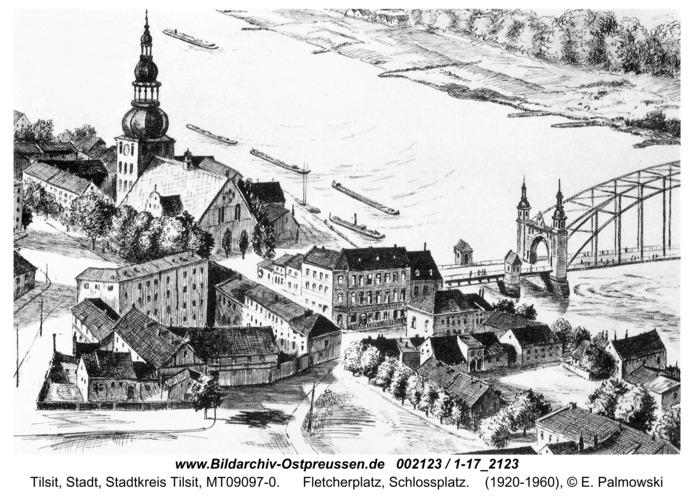 Tilsit, Fletcherplatz, Schlossplatz (Zeichnung)