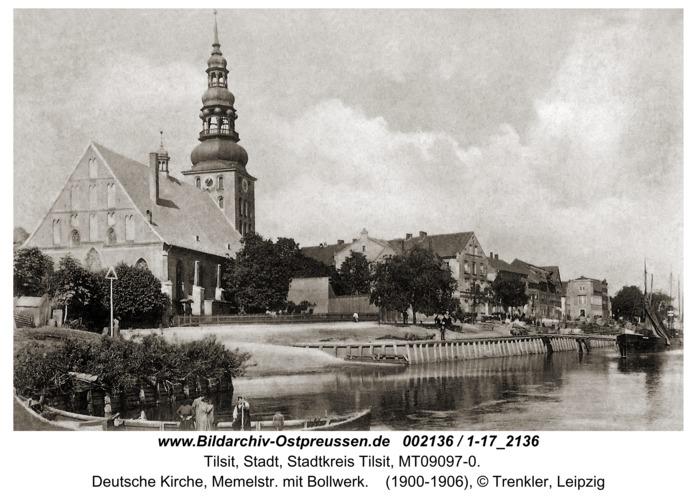 Tilsit, Deutsche Kirche, Memelstr. mit Bollwerk