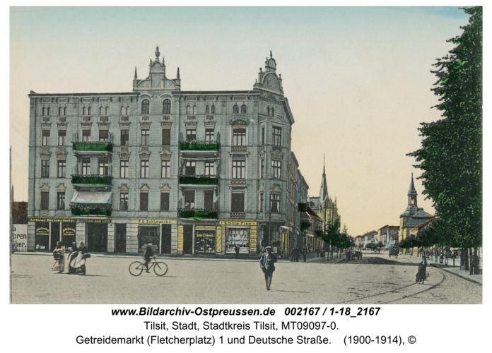 Tilsit, Getreidemarkt (Fletcherplatz) 1 und Deutsche Straße