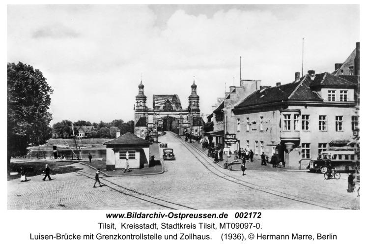 Tilsit, Luisen-Brücke mit Grenzkontrollstelle