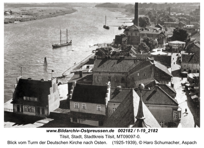 Tilsit, Blick vom Turm der Deutschen Kirche nach Osten