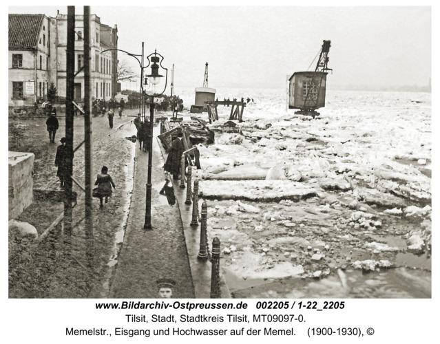 Tilsit, Memelstr., Eisgang und Hochwasser auf der Memel