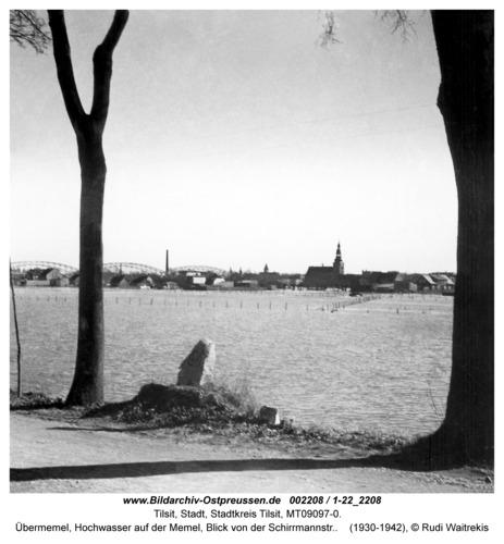 Tilsit, Übermemel, Hochwasser auf der Memel, Blick von der Schirrmannstr.