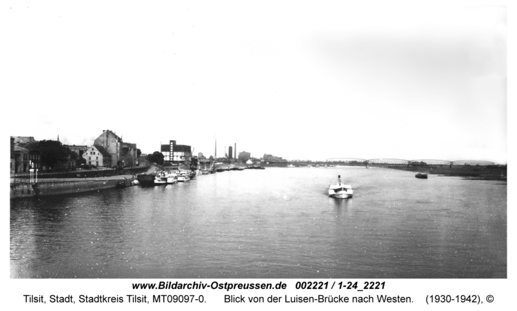 Tilsit, Blick von der Luisen-Brücke nach Westen