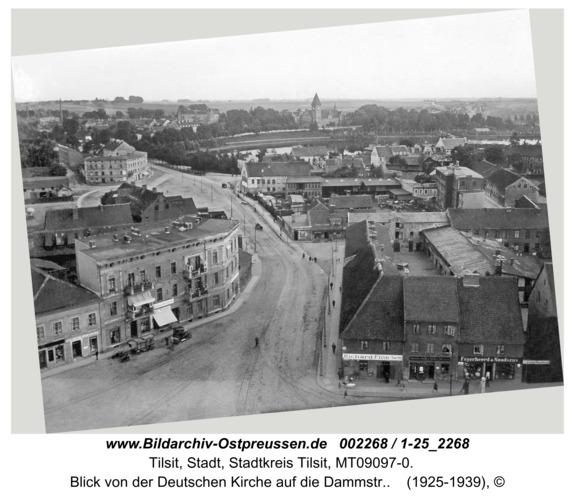 Tilsit, Blick von der Deutschen Kirche auf die Dammstr.