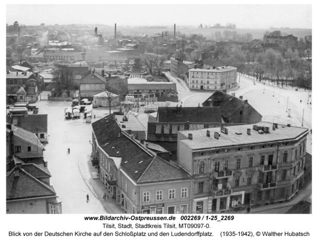 Tilsit, Blick von der Deutschen Kirche auf den Schlossplatz und den Ludendorffplatz