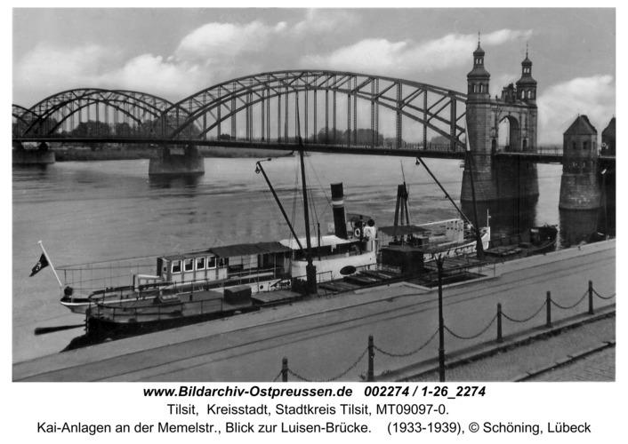 Tilsit, Kai-Anlagen an der Memelstr., Blick zur Luisen-Brücke