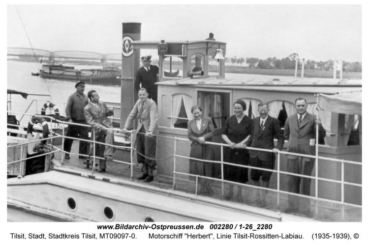 """Tilsit, Motorschiff """"Herbert"""", Linie Tilsit-Rossitten-Labiau"""