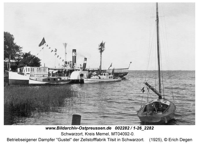 """Schwarzort, Betriebseigener Dampfer """"Gustel"""" der Zellstofffabrik Tilsit in Schwarzort"""