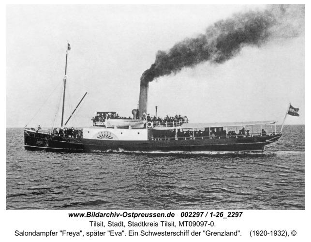 """Tilsit, Salondampfer """"Freya"""", später """"Eva"""". Ein Schwesterschiff der """"Grenzland"""""""