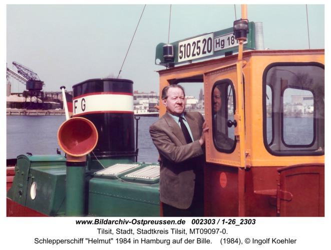 """Tilsit, Schlepperschiff """"Helmut"""" 1984 in Hamburg auf der Bille"""