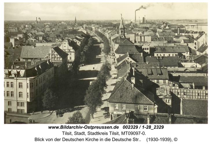 Tilsit, Blick von der Deutschen Kirche in die Deutsche Str.