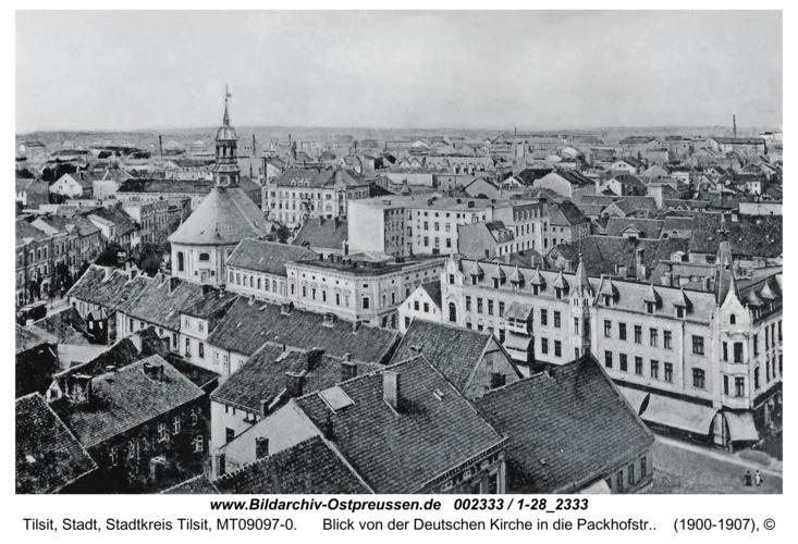 Tilsit, Blick von der Deutschen Kirche in die Packhofstr.