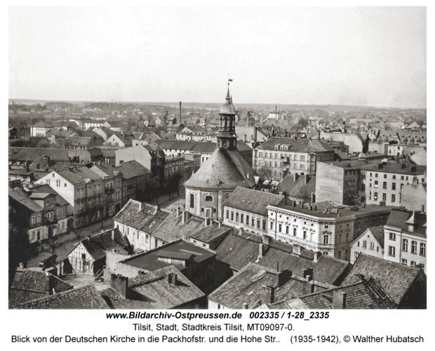 Tilsit, Blick von der Deutschen Kirche in die Packhofstr. und die Hohe Str.
