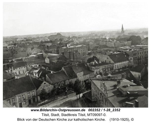 Tilsit, Blick von der Deutschen Kirche zur katholischen Kirche