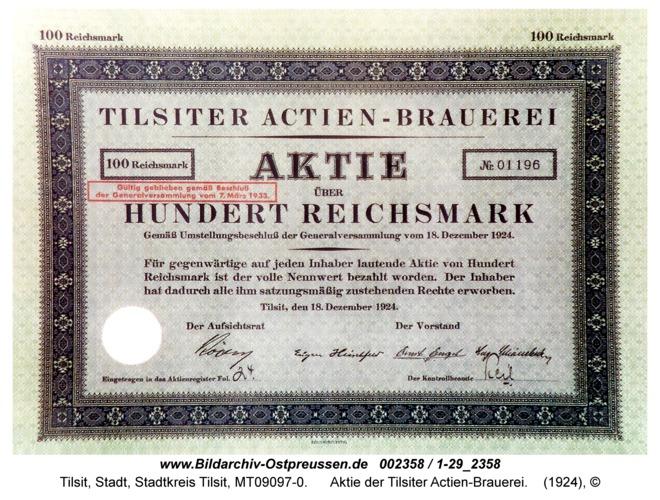 Tilsit, Aktie der Tilsiter Actien-Brauerei