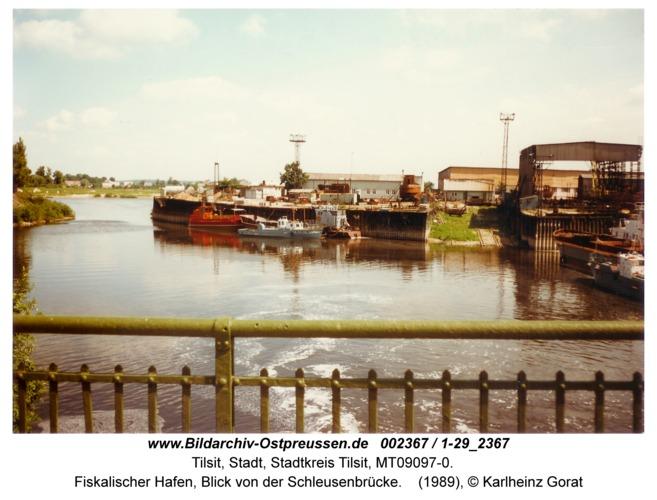 Tilsit, Fiskalischer Hafen, Blick von der Schleusenbrücke