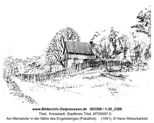 Tilsit, Am Memelufer in der Nähe des Engelsberges (Pakallnis)