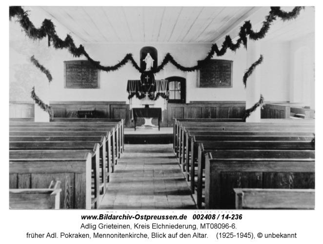 Adl. Grieteinen, früher Adl. Pokraken, Mennonitenkirche, Blick auf den Altar