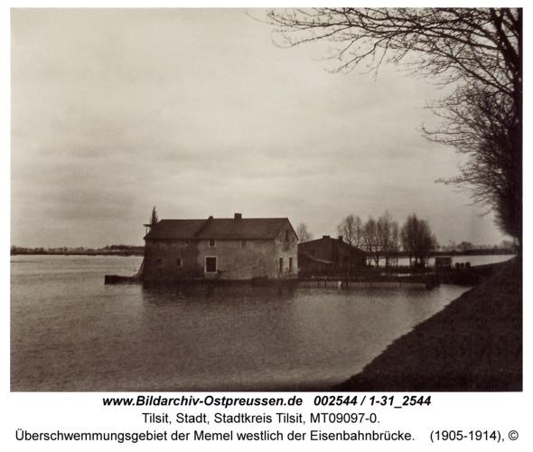 Tilsit, Überschwemmungsgebiet der Memel westlich der Eisenbahnbrücke