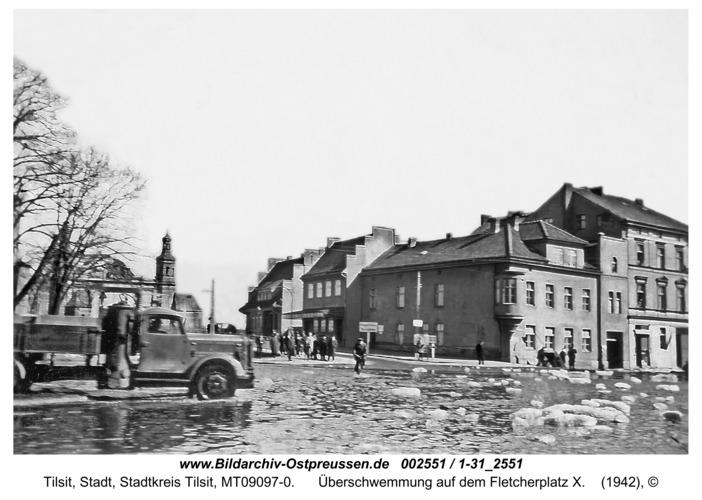 Tilsit, Überschwemmung auf dem Fletcherplatz