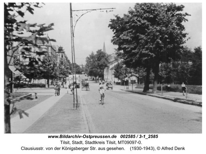 Tilsit, Clausiusstr. von der Königsberger Str. aus gesehen