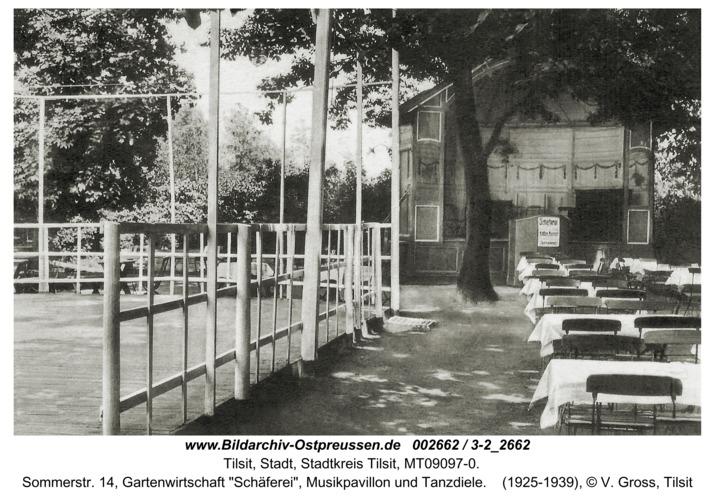 """Tilsit, Sommerstr. 14, Gartenwirtschaft """"Schäferei"""", Musikpavillon und Tanzdiele"""