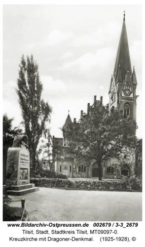 Tilsit, Kreuzkirche mit Dragoner-Denkmal