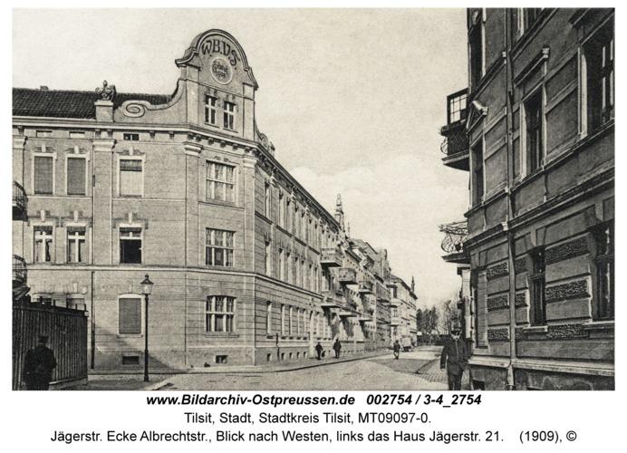 Tilsit, Jägerstr. Ecke Albrechtstr., Blick nach Westen, links das Haus Jägerstr. 21