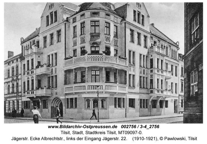 Tilsit, Jägerstr. Ecke Albrechtstr., links der Eingang Jägerstr. 22